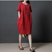 漂亮小媽咪 棉麻短袖洋裝 【D1299】 純色 棉麻 短袖 孕婦連身裙 口袋 孕婦裝 寬鬆 孕婦裙