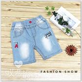 刺繡字母假口袋洗白牛仔五分褲 男童 牛仔褲 鬆緊腰 刷白 韓版 童裝【哎北比童裝】