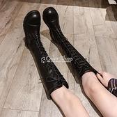 長靴女過膝小個子2010年新款秋冬百搭顯瘦騎士高筒馬丁靴中筒加絨 快速出貨