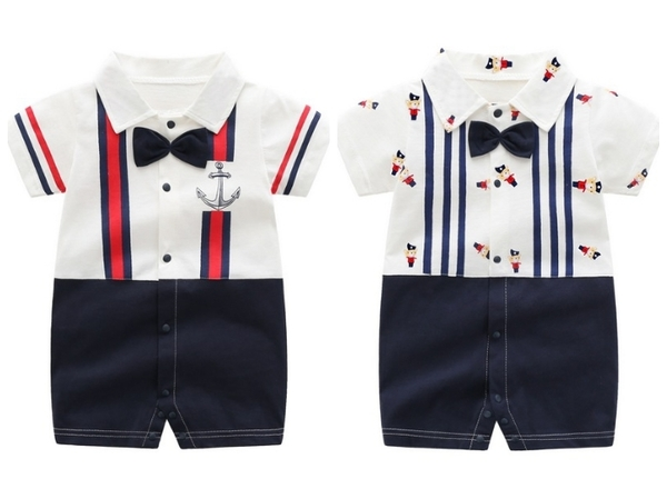 短袖連身衣 領結吊帶 卡通熊貓 嬰兒連身裝 寶寶童裝 兔裝 棉質嬰兒服 LW2534