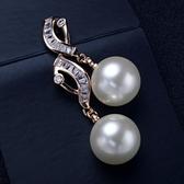 耳環 925純銀珍珠-簡潔亮眼生日情人節禮物女耳針2色73gt30[時尚巴黎]
