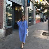 超殺29折 韓系時尚長版慵懶襯衫條紋長袖洋裝