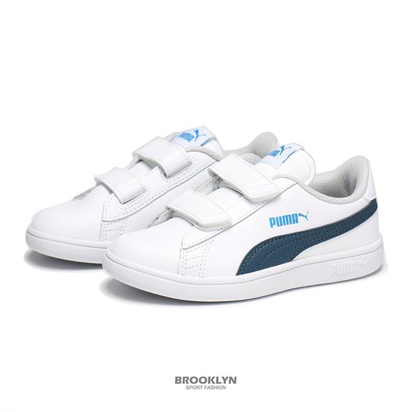 PUMA 童鞋 休閒鞋 SMASH V2 L V PS 白深藍 魔鬼氈 中童 (布魯克林) 36517330