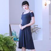 禮服 大碼女裝夏新款連身裙性感露肩藏肉顯瘦藍色裙子igo coco衣巷