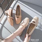 粗跟單鞋女奶奶鞋方頭瑪麗珍鞋女復古淺口低跟女鞋秋 【東京衣秀】