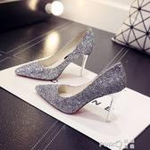 新款婚鞋新娘鞋亮片淺口高跟鞋細跟單鞋尖頭伴娘銀色水晶宴會女鞋  (pink Q 時尚女裝)