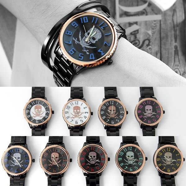 手錶 經典骷髏數字腕錶 搖滾龐克 黑色時尚 可搭對錶 柒彩年代【NE1995】單支