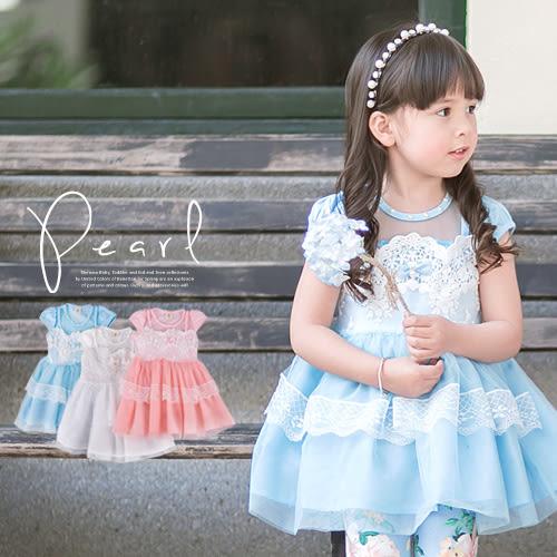 緞蝶結珍珠環領蕾絲層紗洋裝禮服(230304)★水娃娃時尚童裝★