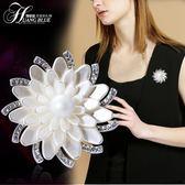 歐美簡約奢華大氣胸針女士花朵韓版時尚防走光胸花別針七夕節禮物