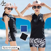 比基尼泳裝-日本品牌AngelLuna 日本直送 素色斑馬紋運動型兩件式溫泉沙灘泳衣
