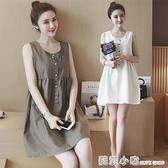 夏季小眾棉麻裙子中長款無袖娃娃裙女韓版寬鬆背心裙吊帶裙洋裝 蘇菲小店