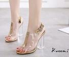 透明粗跟高跟涼鞋金色拼接魚口鞋 晚宴鞋 婚紗鞋 -[kwoomi]A42