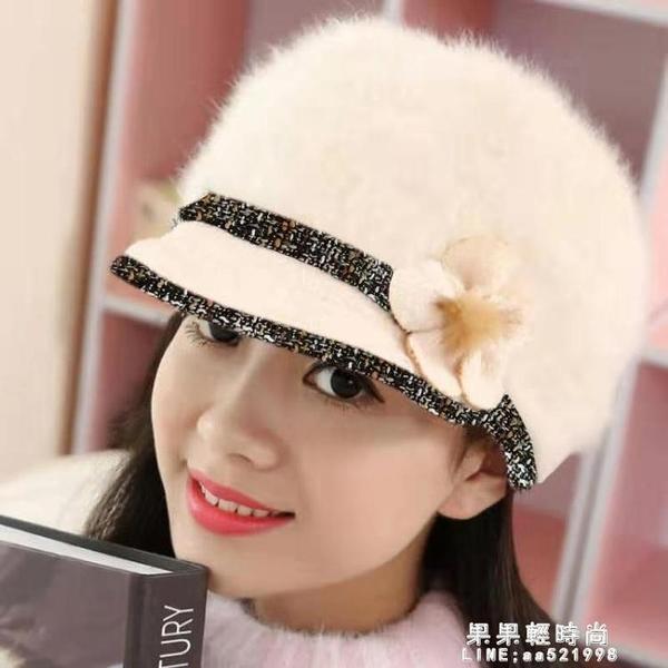 韓版時尚兔毛鴨舌帽子女百搭內里加絨加厚毛絨保暖針織媽媽帽【果果新品】