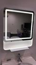 【 麗室衛浴】國產 帶燈方型化妝鏡 不銹鋼鏡框 附有平臺 680*805MM