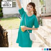 《KG0248》造型蝴蝶結袖口純色長版上衣/洋裝 OrangeBear