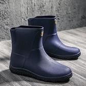 雨鞋 雨鞋男士中筒耐磨防滑防水雨靴加厚釣魚鞋時尚短筒水鞋潮工作膠鞋
