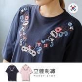 *蔓蒂小舖孕婦裝【M8095】*韓國製.氣質花朵刺繡側開衩洋裝