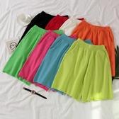 2020新款春夏季熒光綠休閒運動針織短褲女寬鬆外穿網紅五分褲子潮 後街五號