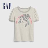 Gap女童棉質舒適圓領短袖T恤540440-石楠灰色