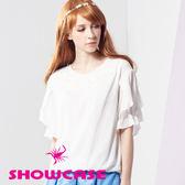 【SHOWCASE】甜美蕾絲領波浪袖雪紡上衣(白)