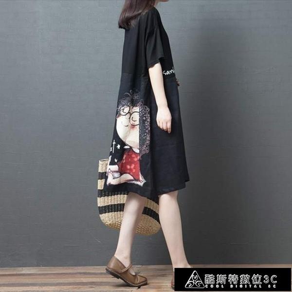 棉麻洋裝 夏裝女韓版大碼棉麻連身裙中長款寬鬆洋氣卡通印花短袖亞麻裙 快速出貨