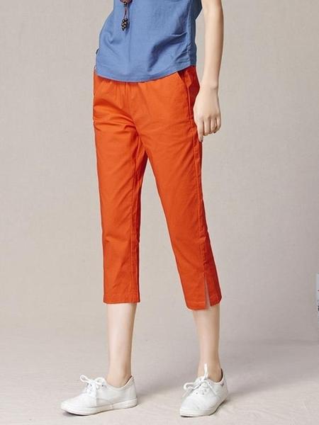 白色七分褲女2020夏季薄款寬鬆緊高腰棉麻休閒中褲大碼開叉哈倫褲