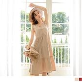 純色高含棉寬鬆綁帶無袖蛋糕裙洋裝 OrangeBear《DA8754》