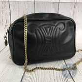 BRAND楓月 CELINE Vintage 黑色凱旋小鍊包 LOGO 相機包 肩背包 小方包 斜背小包