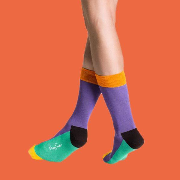 『摩達客』瑞典進口【Happy Socks】五色紫底中統襪(60112081015)