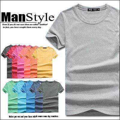 圓領T恤ManStyle潮流嚴選糖果色針織素面圓領短袖T恤男【01B6215】