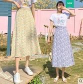 雪紡碎花半身裙2021春款氣質薄款夏小個子中長款高腰a字油畫傘裙 伊蘿 618狂歡
