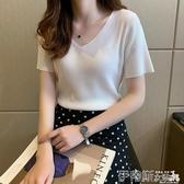 针织上衣短袖女夏季2020新款韓版半袖t恤寬鬆百搭v領冰絲針織衫ins上衣潮 伊蒂斯