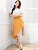 單一優惠價[H2O]不對稱異素材拼接大裙襬長裙 - 黃/藍/粉色 #0672007