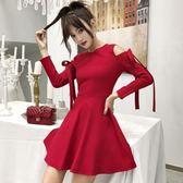 洋裝 韓版 復古露肩長袖婚禮小禮服 派對連身裙 花漾小姐【現貨】