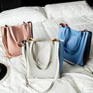 包包新款撞色拼接托特包單肩包女包斜背包手提包大包購物袋包 秘密盒子