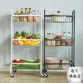 推車置物架 廚房手推車置物架落地多層蔬菜籃子帶輪可行動收納架省空間-快速出貨