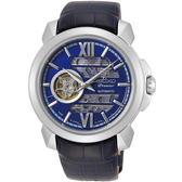 【台南 時代鐘錶 SEIKO】精工 Premier 開芯機械錶 SSA399J1@4R71-00C0B 皮帶 藍面 43mm