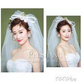 頭紗 結婚頭紗白色婚紗新款新娘韓式蝴蝶結頭紗拍照造型硬頭紗短款 coco衣巷