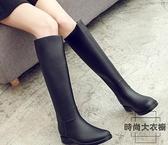 外穿雨鞋女高筒時尚雨靴女成人長筒水鞋馬丁水靴【時尚大衣櫥】