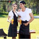 韓版時尚條紋家居廚房圍裙餐飲奶茶咖啡店餐廳男女工作服圍裙 長款