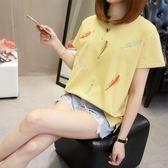 韓版學生棉質圓領上衣XL-5XL中大尺碼24088胖mm夏裝顯瘦半袖上衣繡花寬松短袖T恤胖胖唯依