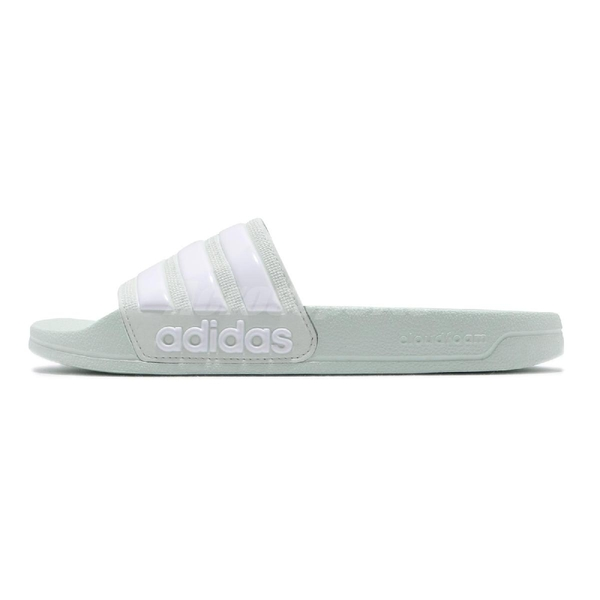 adidas 拖鞋 Adilette Shower 綠 白 男鞋 女鞋 涼拖鞋 【PUMP306】 F34913