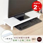 【Hopma】加寬桌上螢幕架-雙入時尚白