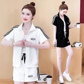 運動套裝2件套M-4XL大碼女裝兩件套夏時尚棉套裝寬松休閑拉鏈上衣高腰短褲NC318-A.1號公館