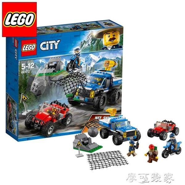 LEGO樂高積木城市山地特警繫列拼裝玩具警車摩托車山地追擊60172 igo摩可美家