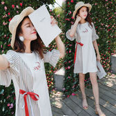 孕婦夏裝韓版條紋系帶拼色棉質洋裝 LQ4560『miss洛羽』
