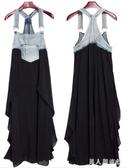 胖MM女裝 新款寬鬆加肥特大碼吊帶背心裙牛仔布拼接雪紡背帶連身裙 DR32402【男人與流行】