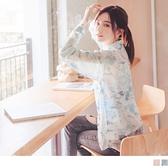 《AB12323-》微光雲彩渲染印花輕柔透膚雪紡襯衫/罩衫 OB嚴選