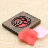 中國復古風木質小鏡子便攜式折疊雕花翻蓋迷你隨身化妝鏡刻字禮物 潮流衣館