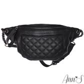 Ann'S簡約個性美-槍色鏈帶菱格真皮大容量腰包-黑色